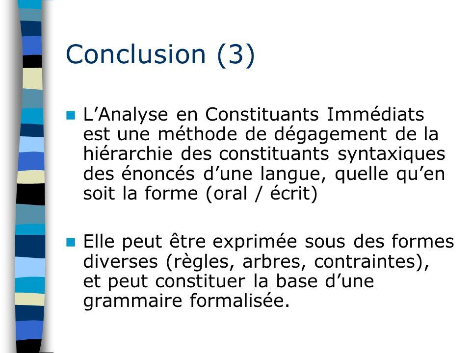 Conclusion (3) LAnalyse en Constituants Immédiats est une méthode de dégagement de la hiérarchie des constituants syntaxiques des énoncés dune langue,