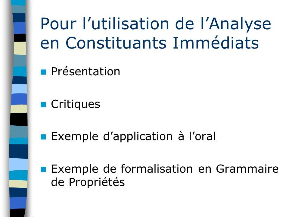 Pour lutilisation de lAnalyse en Constituants Immédiats Présentation Critiques Exemple dapplication à loral Exemple de formalisation en Grammaire de P