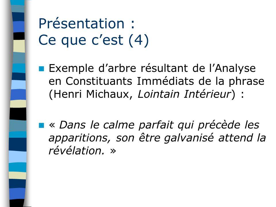 Présentation : Ce que cest (4) Exemple darbre résultant de lAnalyse en Constituants Immédiats de la phrase (Henri Michaux, Lointain Intérieur) : « Dan