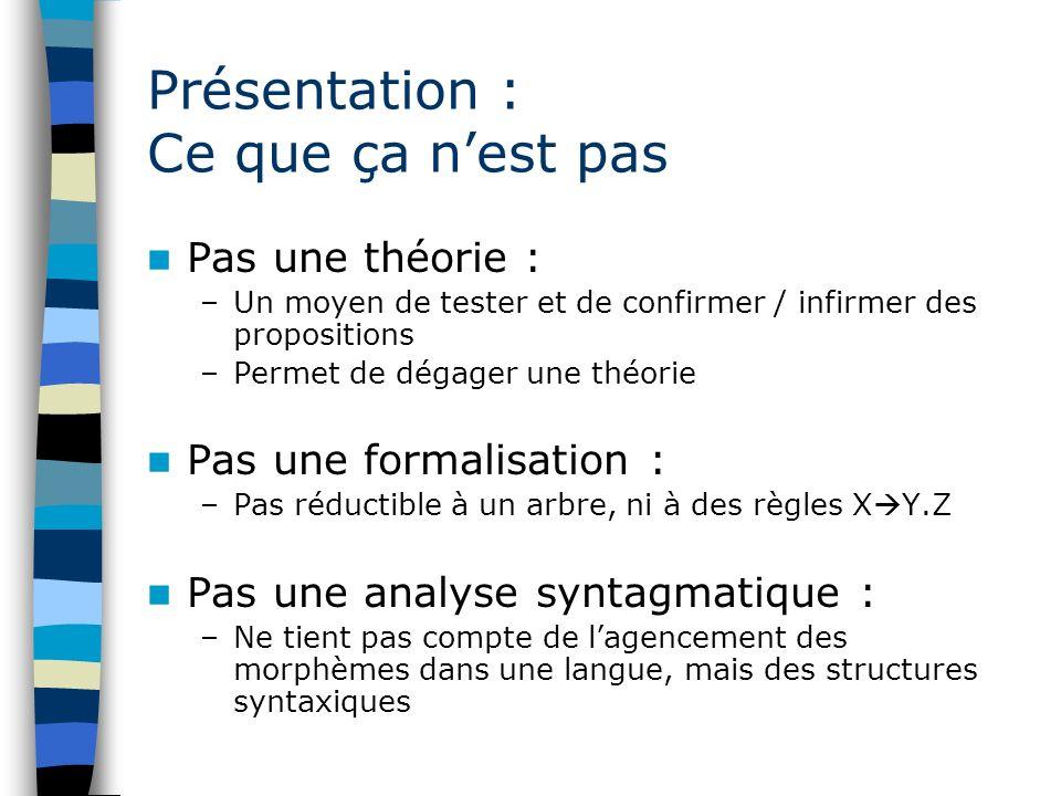 Présentation : Ce que ça nest pas Pas une théorie : –Un moyen de tester et de confirmer / infirmer des propositions –Permet de dégager une théorie Pas