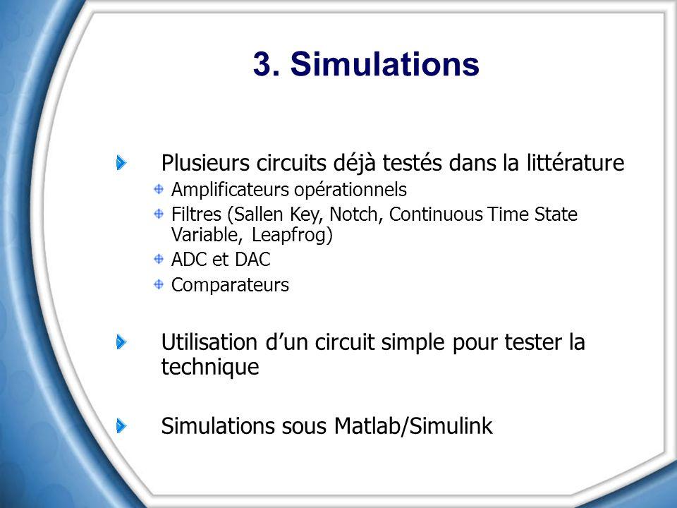 3. Simulations Plusieurs circuits déjà testés dans la littérature Amplificateurs opérationnels Filtres (Sallen Key, Notch, Continuous Time State Varia