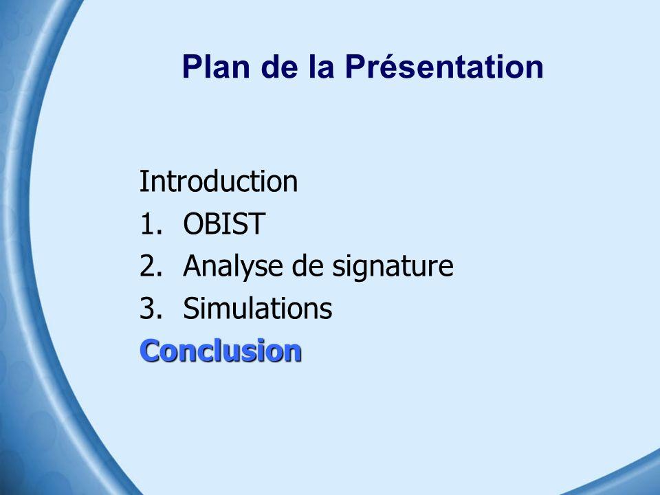 Plan de la Présentation Introduction 1.OBIST 2.Analyse de signature 3.SimulationsConclusion