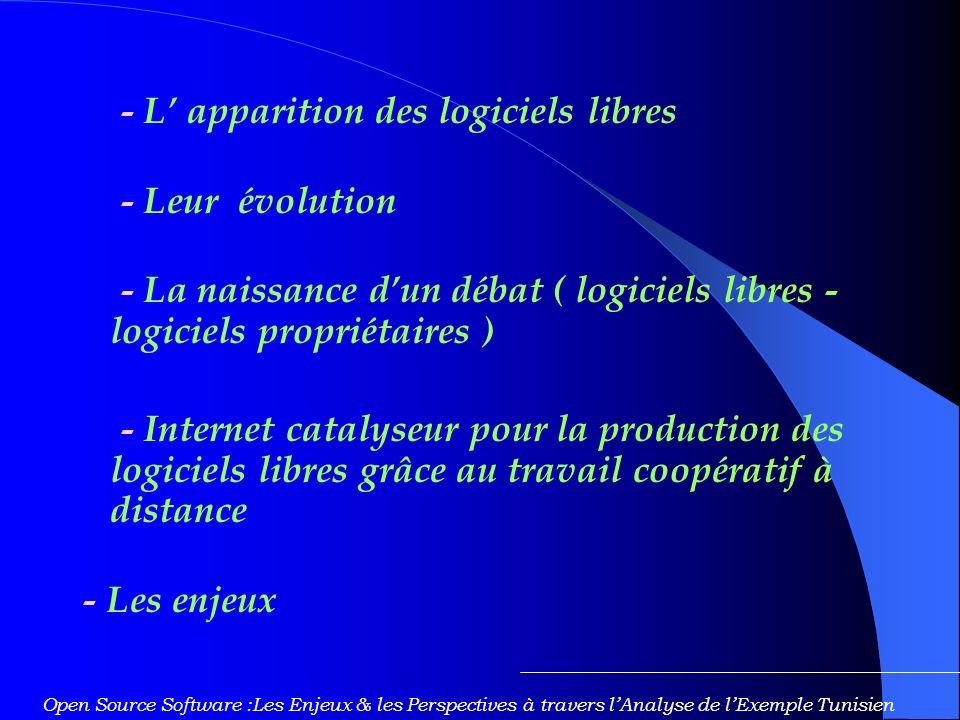 - L apparition des logiciels libres - Leur évolution - La naissance dun débat ( logiciels libres - logiciels propriétaires ) - Internet catalyseur pour la production des logiciels libres grâce au travail coopératif à distance - Les enjeux Open Source Software :Les Enjeux & les Perspectives à travers lAnalyse de lExemple Tunisien