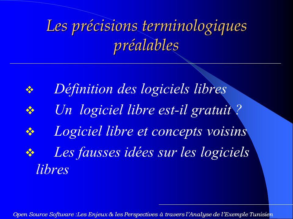 Les précisions terminologiques préalables Définition des logiciels libres Un logiciel libre est-il gratuit .