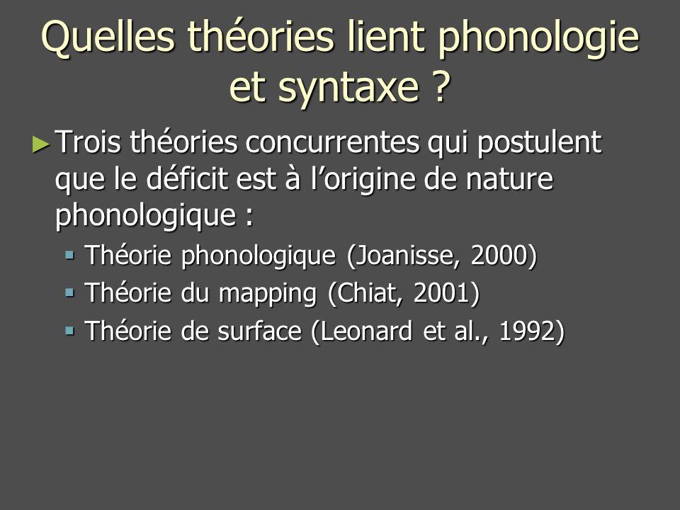 Quelles théories lient phonologie et syntaxe .