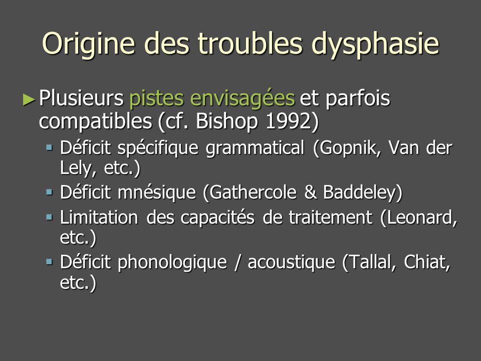 Origine des troubles dysphasie Plusieurs pistes envisagées et parfois compatibles (cf.