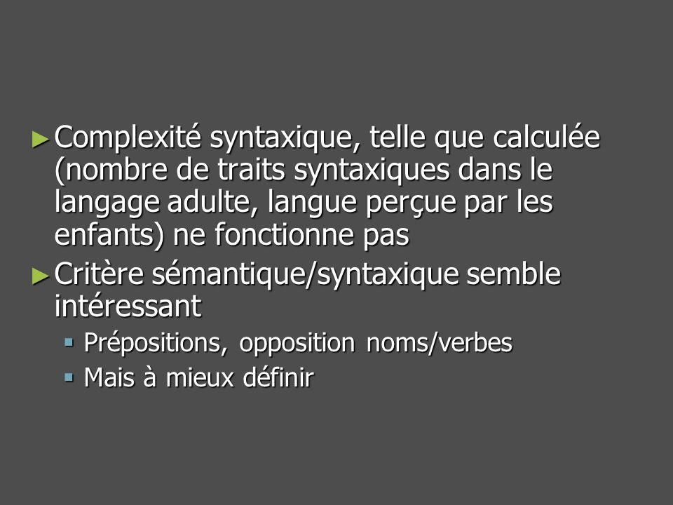 Complexité syntaxique, telle que calculée (nombre de traits syntaxiques dans le langage adulte, langue perçue par les enfants) ne fonctionne pas Complexité syntaxique, telle que calculée (nombre de traits syntaxiques dans le langage adulte, langue perçue par les enfants) ne fonctionne pas Critère sémantique/syntaxique semble intéressant Critère sémantique/syntaxique semble intéressant Prépositions, opposition noms/verbes Prépositions, opposition noms/verbes Mais à mieux définir Mais à mieux définir