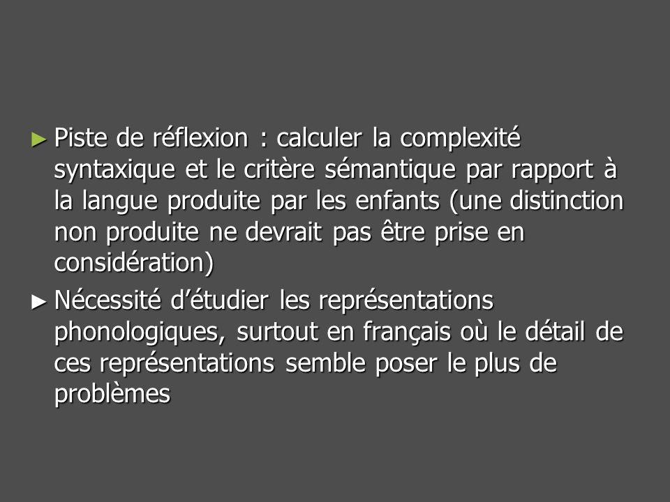 Piste de réflexion : calculer la complexité syntaxique et le critère sémantique par rapport à la langue produite par les enfants (une distinction non produite ne devrait pas être prise en considération) Piste de réflexion : calculer la complexité syntaxique et le critère sémantique par rapport à la langue produite par les enfants (une distinction non produite ne devrait pas être prise en considération) Nécessité détudier les représentations phonologiques, surtout en français où le détail de ces représentations semble poser le plus de problèmes Nécessité détudier les représentations phonologiques, surtout en français où le détail de ces représentations semble poser le plus de problèmes