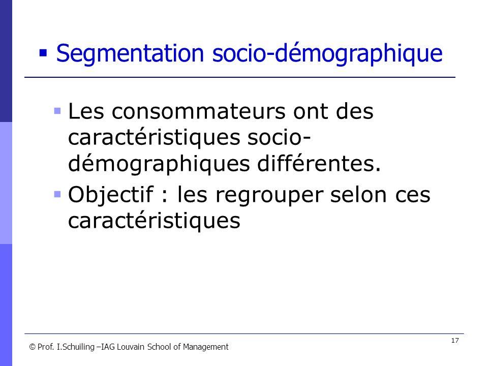 © © Prof. I.Schuiling –IAG Louvain School of Management 17 Les consommateurs ont des caractéristiques socio- démographiques différentes. Objectif : le
