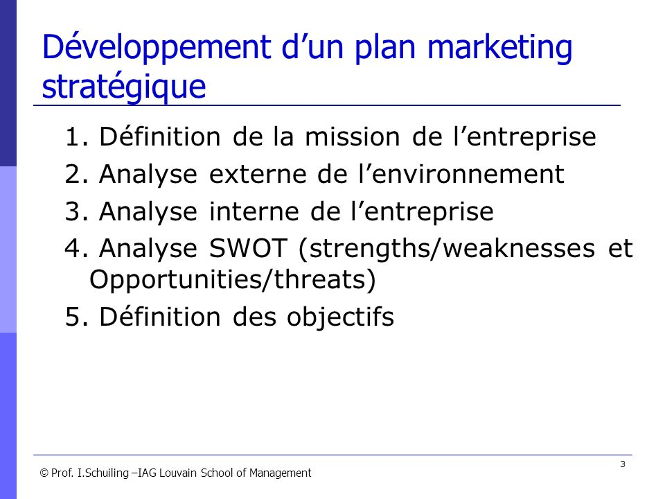 © © Prof. I.Schuiling –IAG Louvain School of Management 3 Développement dun plan marketing stratégique 1. Définition de la mission de lentreprise 2. A