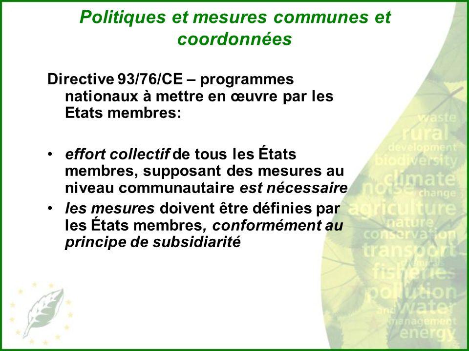 Politiques et mesures communes et coordonnées Directive 93/76/CE – programmes nationaux à mettre en œuvre par les Etats membres: effort collectif de tous les États membres, supposant des mesures au niveau communautaire est nécessaire les mesures doivent être définies par les États membres, conformément au principe de subsidiarité