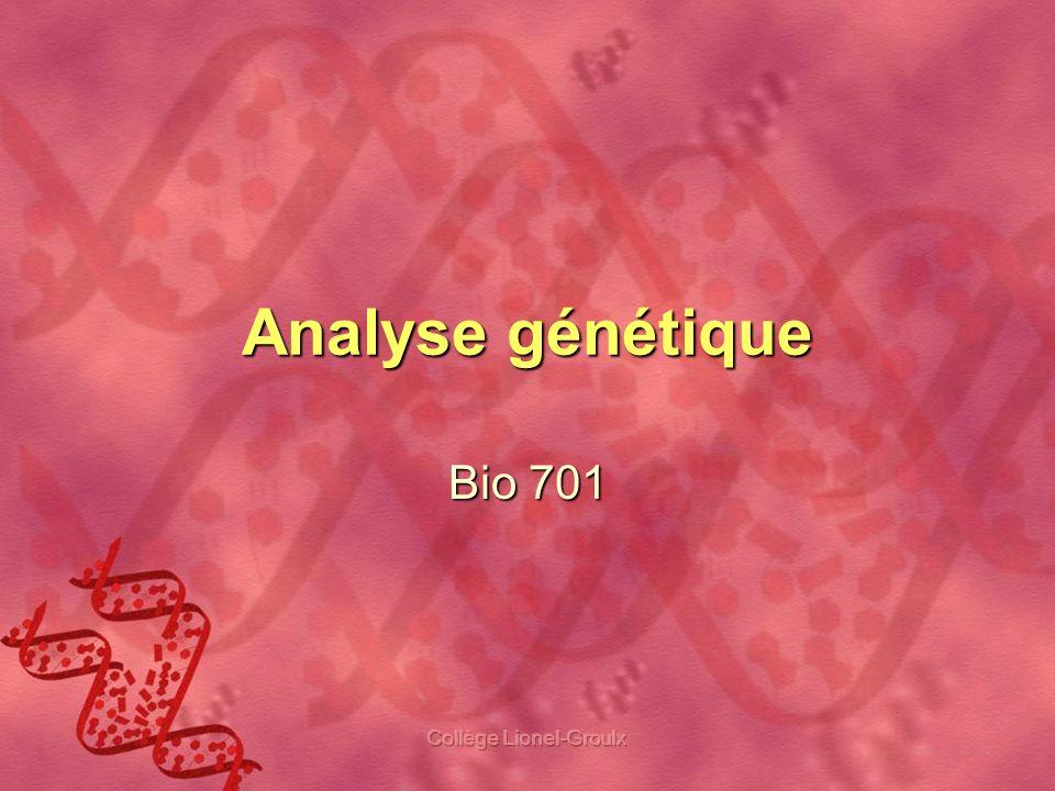Collège Lionel-Groulx Plan de la présentation Quest-ce que lanalyse génétique et à quoi ça sert.