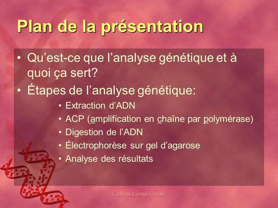 Collège Lionel-Groulx Plan de la présentation Quest-ce que lanalyse génétique et à quoi ça sert? Étapes de lanalyse génétique: Extraction dADN ACP (am