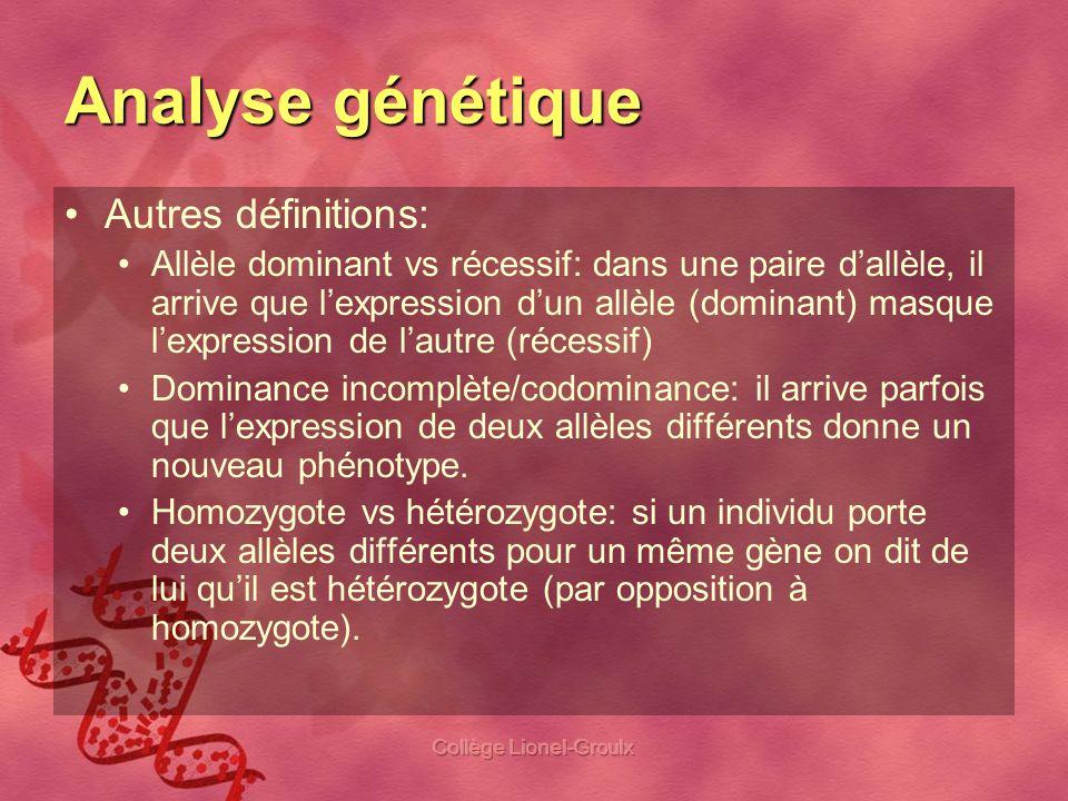 Collège Lionel-Groulx Analyse génétique Au labo, une fois les génotypes déterminés, nous les comparerons aux phénotypes des cobayes pour évaluer: Y a-t-il un allèle qui est dominant.