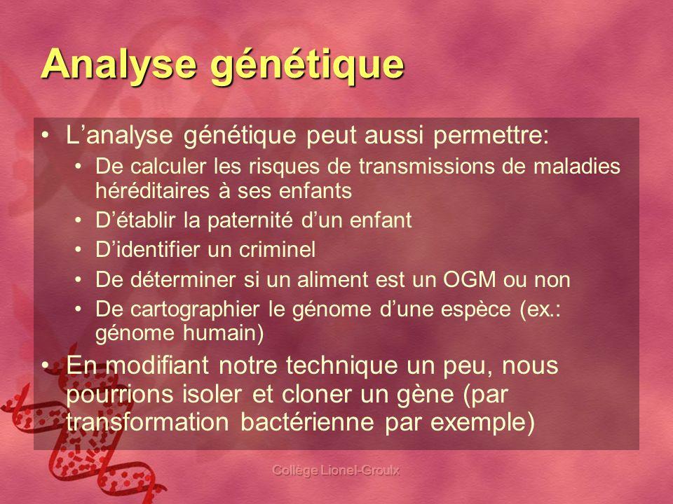 Collège Lionel-Groulx Résumé de la procédure On va prélever vos cellules On en extrait lADN On amplifie (copie) un gène précis à laide de lACP On essaie de couper le gène à laide dune enzyme de restriction On sépare les fragments de différentes tailles à laide de lélectrophorèse Lanalyse croisées des fragments (génotypes) et des phénotypes des cobayes nous indiquera le « type de relation » entre les deux allèles