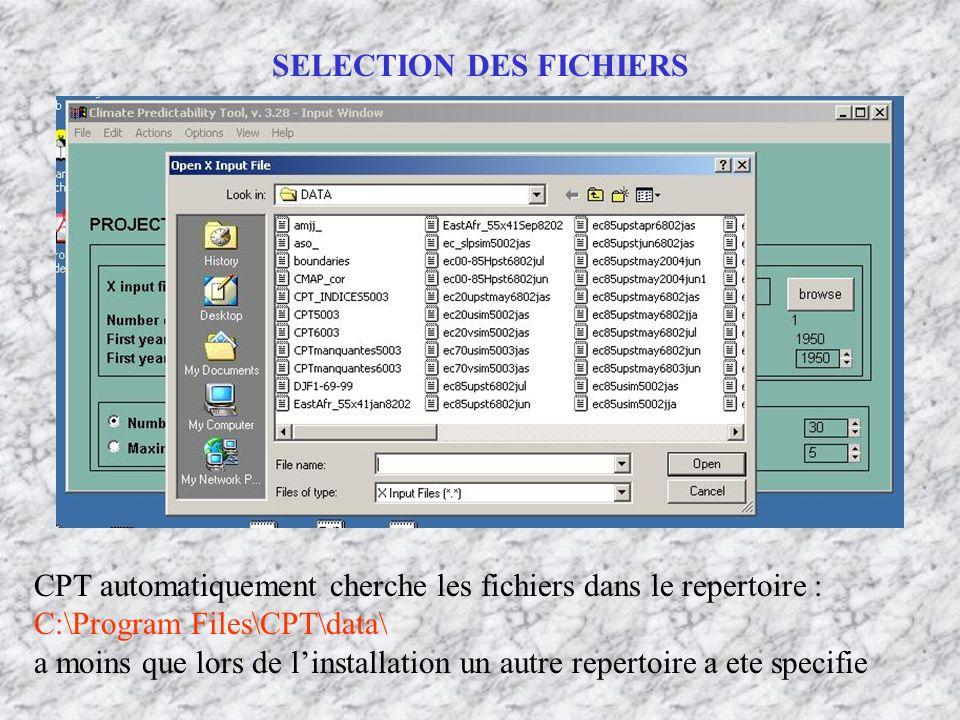 SELECTION DES FICHIERS CPT automatiquement cherche les fichiers dans le repertoire : C:\Program Files\CPT\data\ a moins que lors de linstallation un a