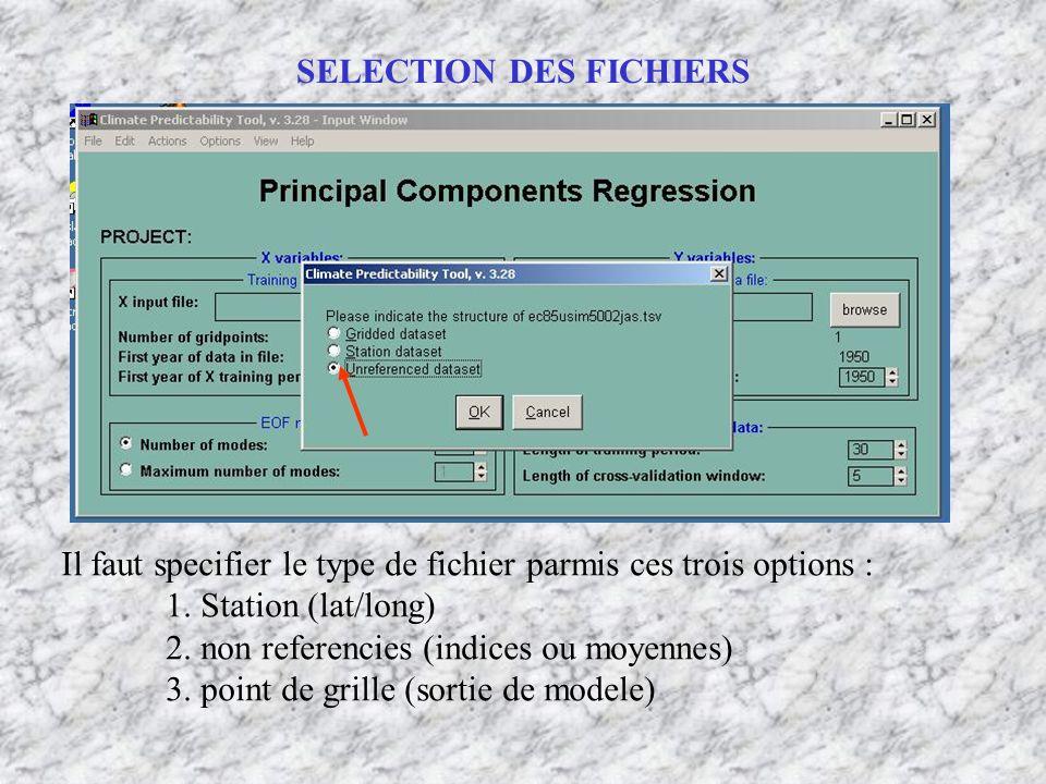 Il faut specifier le type de fichier parmis ces trois options : 1. Station (lat/long) 2. non referencies (indices ou moyennes) 3. point de grille (sor