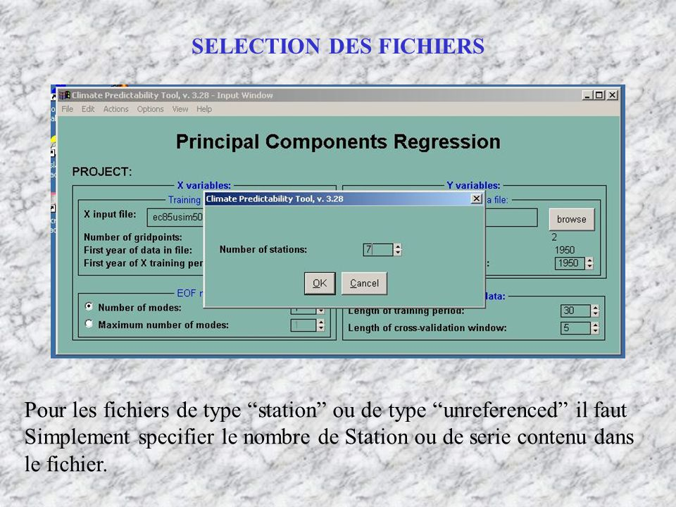 SELECTION DES FICHIERS Pour les fichiers de type station ou de type unreferenced il faut Simplement specifier le nombre de Station ou de serie contenu