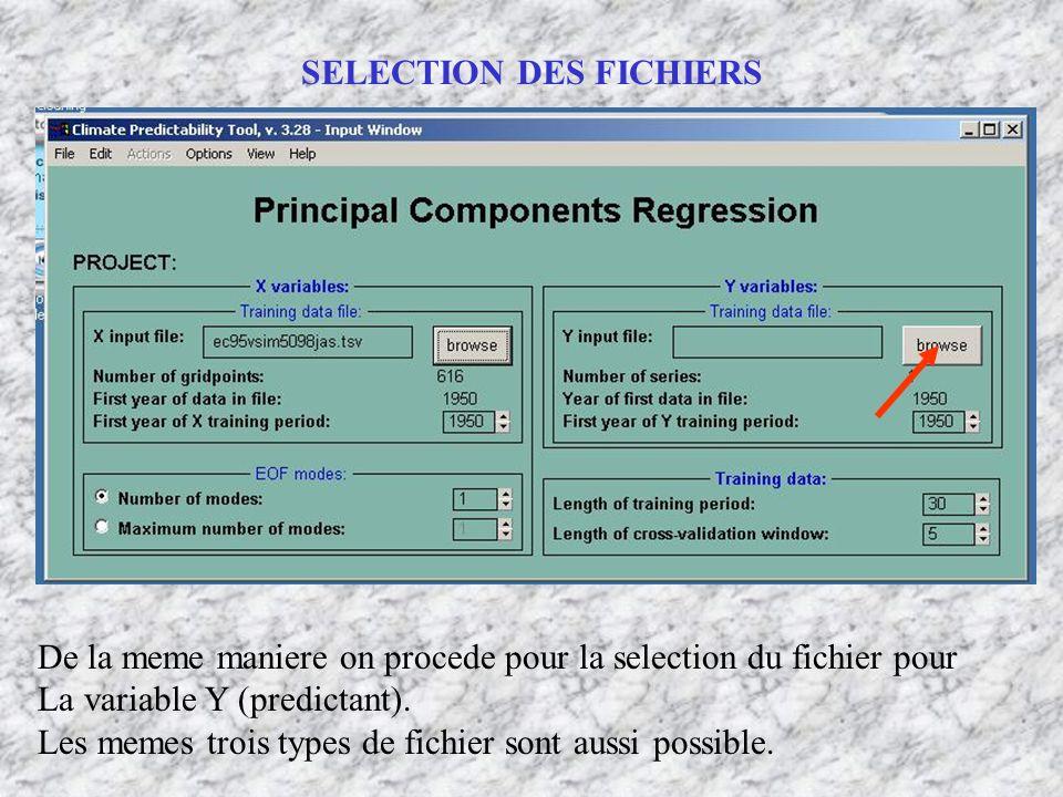 De la meme maniere on procede pour la selection du fichier pour La variable Y (predictant). Les memes trois types de fichier sont aussi possible.