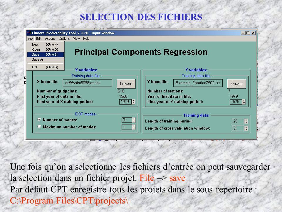 SELECTION DES FICHIERS Une fois quon a selectionne les fichiers dentrée on peut sauvegarder la selection dans un fichier projet. File => save Par defa