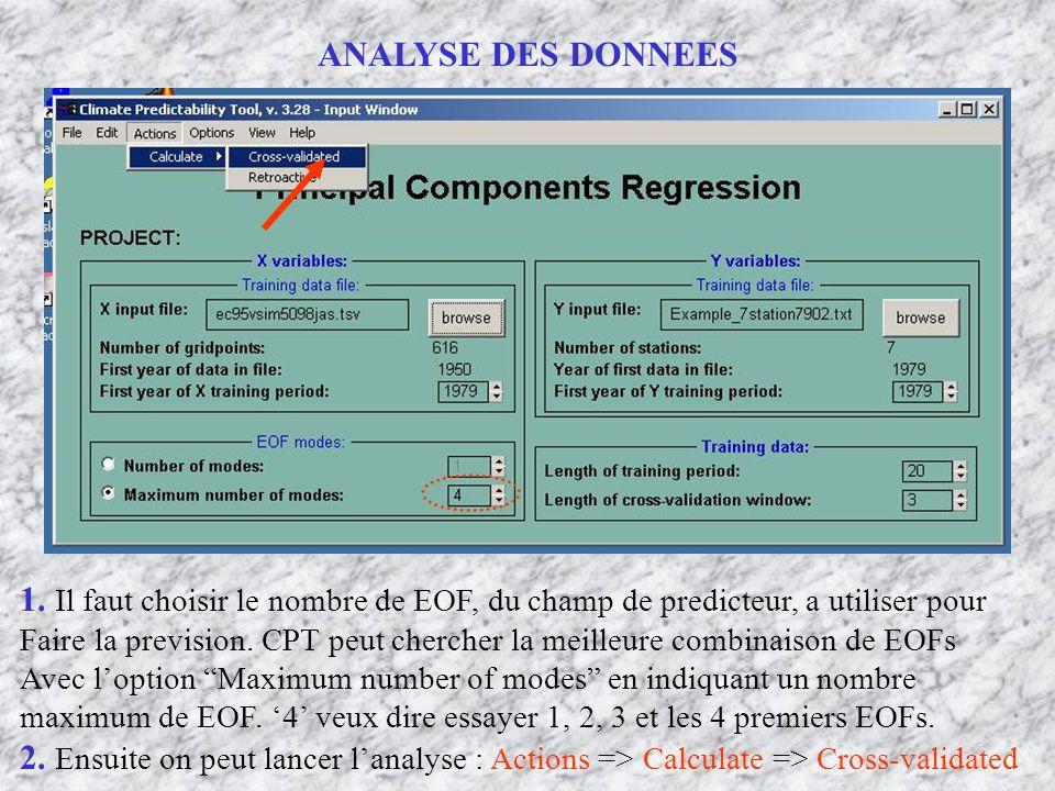 ANALYSE DES DONNEES 1. Il faut choisir le nombre de EOF, du champ de predicteur, a utiliser pour Faire la prevision. CPT peut chercher la meilleure co