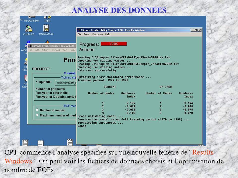 ANALYSE DES DONNEES CPT commence lanalyse specifiee sur une nouvelle fenetre de Results Windows. On peut voir les fichiers de donnees choisis et lopti