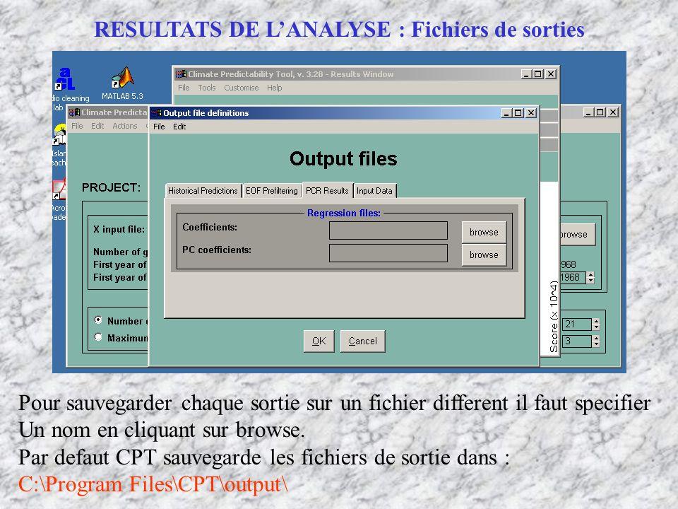RESULTATS DE LANALYSE : Fichiers de sorties Pour sauvegarder chaque sortie sur un fichier different il faut specifier Un nom en cliquant sur browse. P