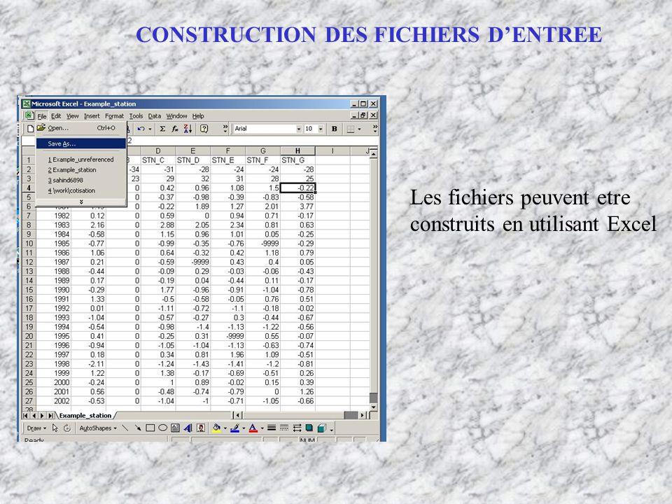 Les fichiers peuvent etre construits en utilisant Excel