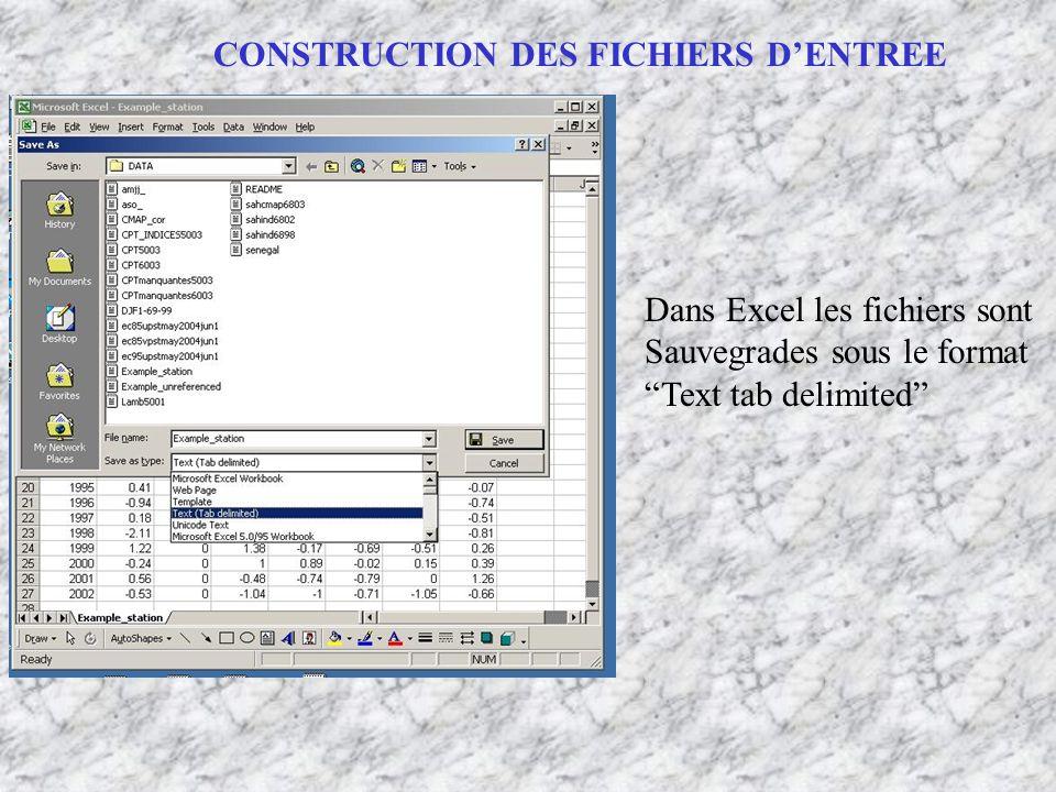 CONSTRUCTION DES FICHIERS DENTREE Dans Excel les fichiers sont Sauvegrades sous le format Text tab delimited