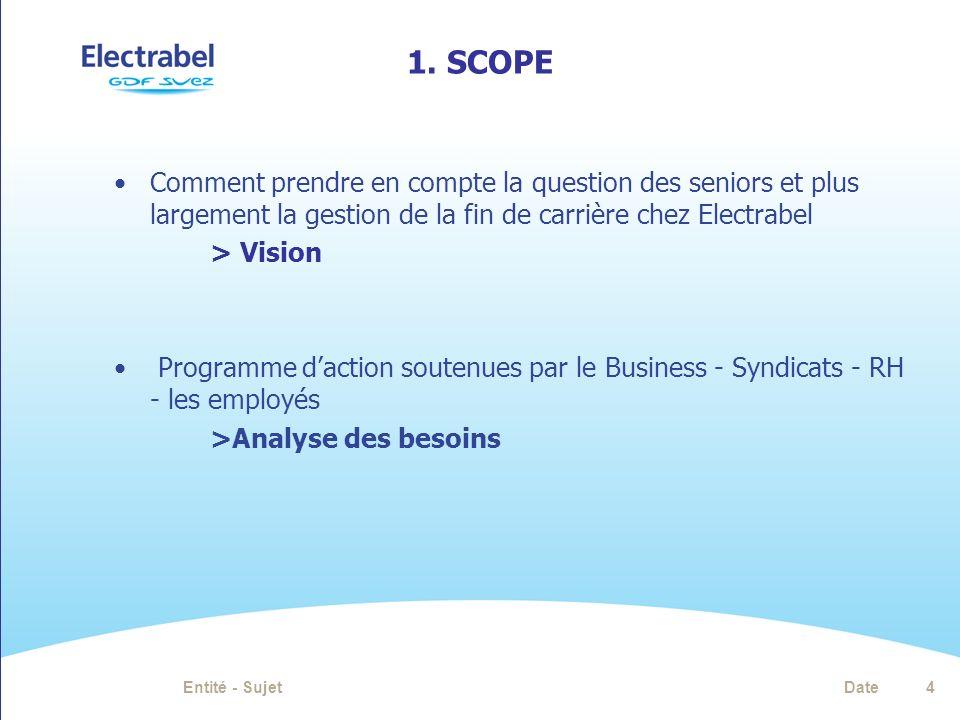 1. SCOPE Comment prendre en compte la question des seniors et plus largement la gestion de la fin de carrière chez Electrabel > Vision Programme dacti