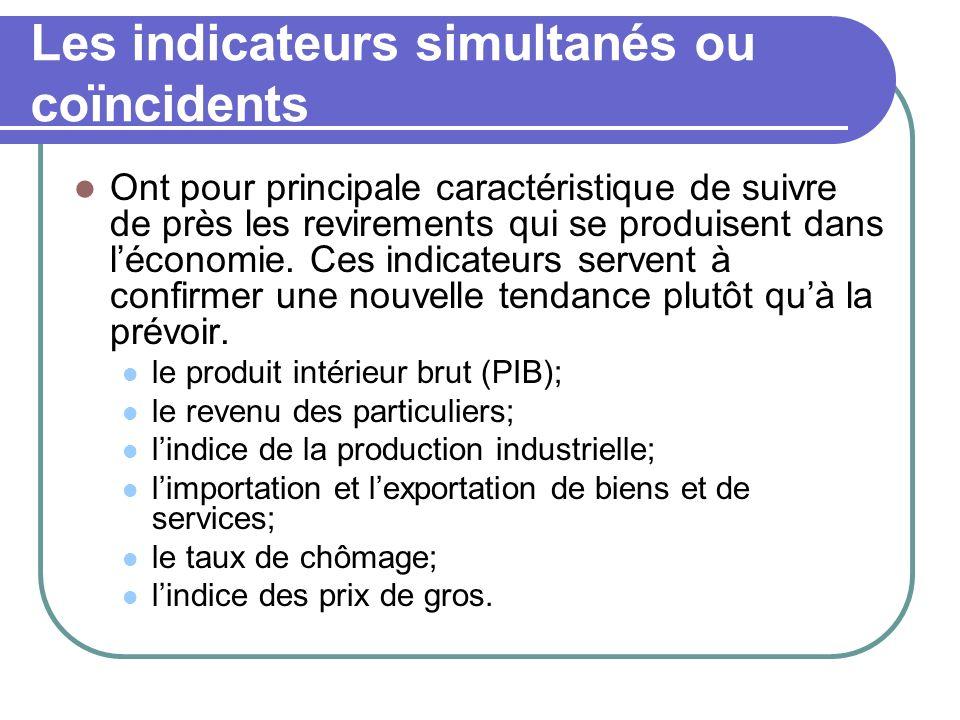 Les indicateurs simultanés ou coïncidents Ont pour principale caractéristique de suivre de près les revirements qui se produisent dans léconomie. Ces