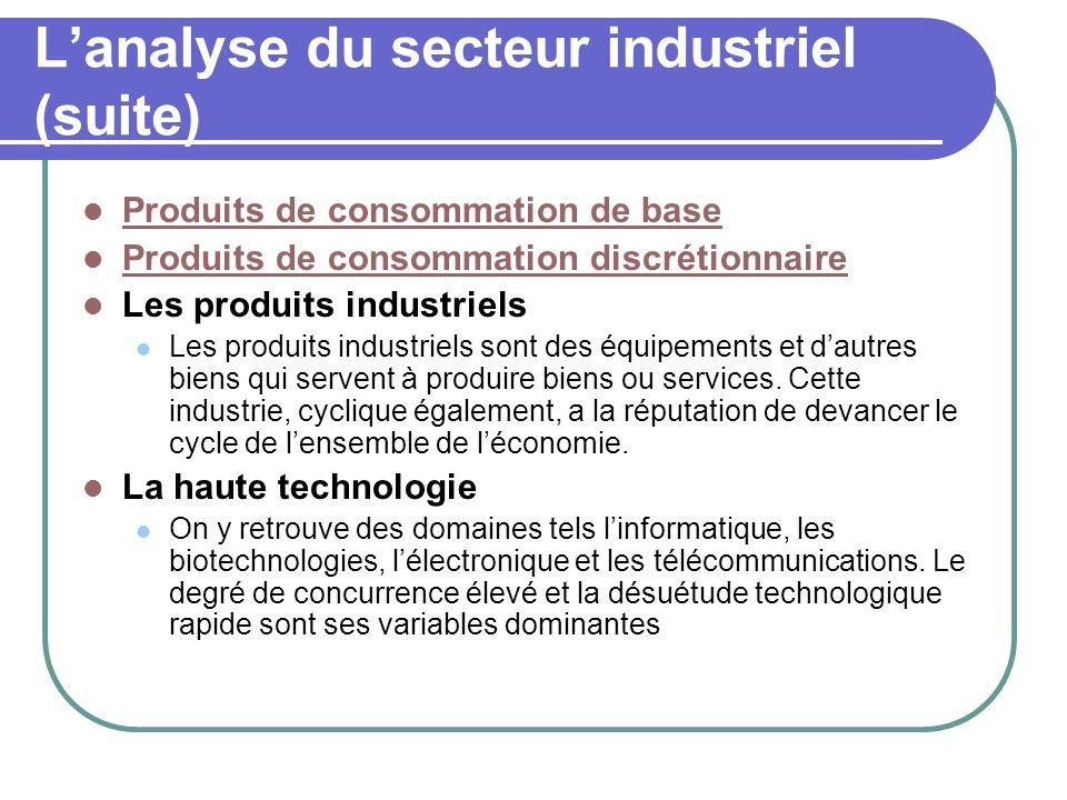Lanalyse du secteur industriel (suite) Produits de consommation de base Produits de consommation discrétionnaire Les produits industriels Les produits