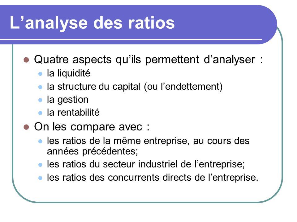 Lanalyse des ratios Quatre aspects quils permettent danalyser : la liquidité la structure du capital (ou lendettement) la gestion la rentabilité On le