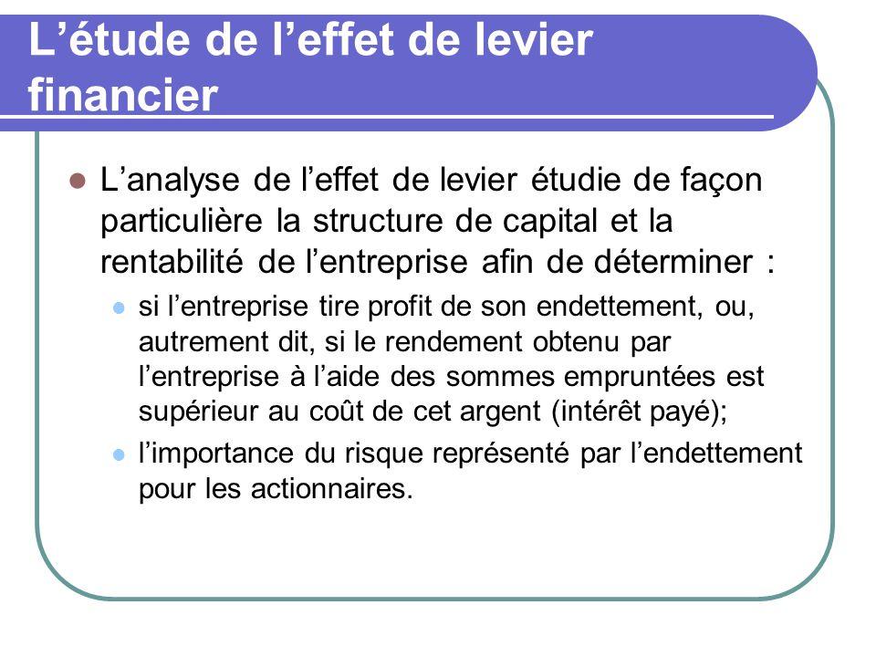 Létude de leffet de levier financier Lanalyse de leffet de levier étudie de façon particulière la structure de capital et la rentabilité de lentrepris