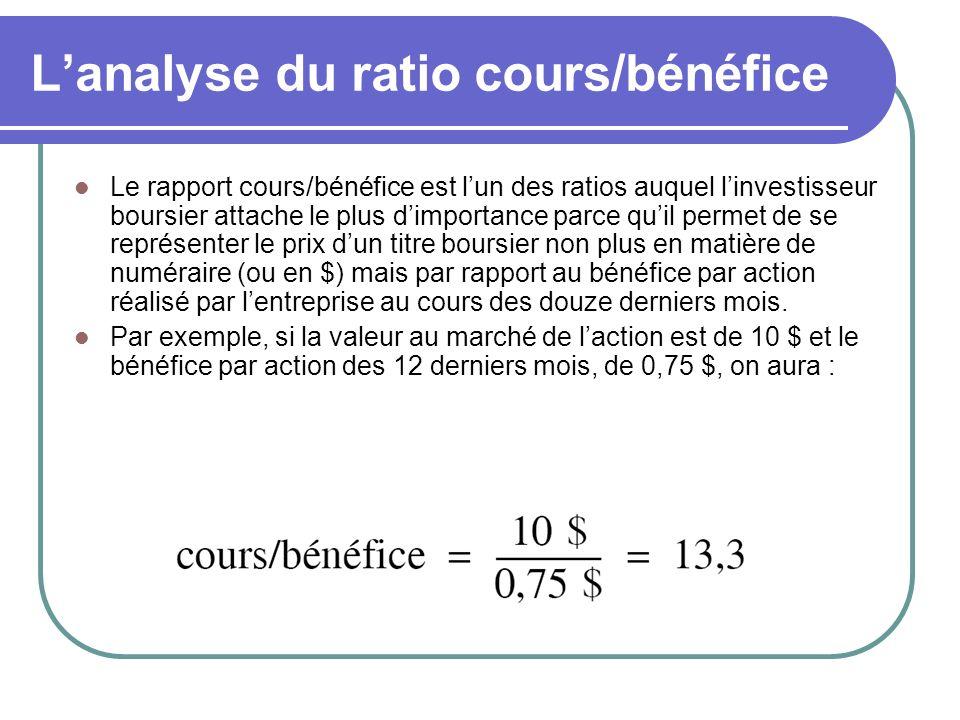 Lanalyse du ratio cours/bénéfice Le rapport cours/bénéfice est lun des ratios auquel linvestisseur boursier attache le plus dimportance parce quil per