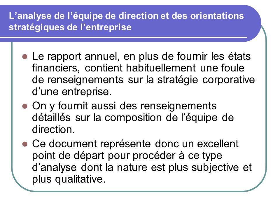 Lanalyse de léquipe de direction et des orientations stratégiques de lentreprise Le rapport annuel, en plus de fournir les états financiers, contient