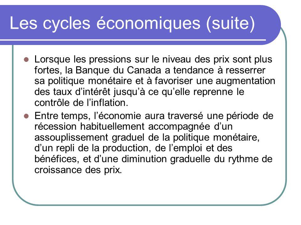 Les cycles économiques (suite) Lorsque les pressions sur le niveau des prix sont plus fortes, la Banque du Canada a tendance à resserrer sa politique