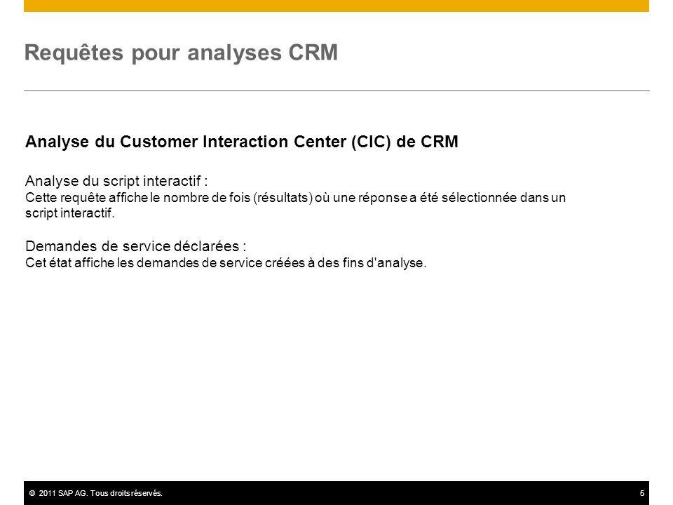 ©2011 SAP AG. Tous droits réservés.5 Requêtes pour analyses CRM Analyse du Customer Interaction Center (CIC) de CRM Analyse du script interactif : Cet