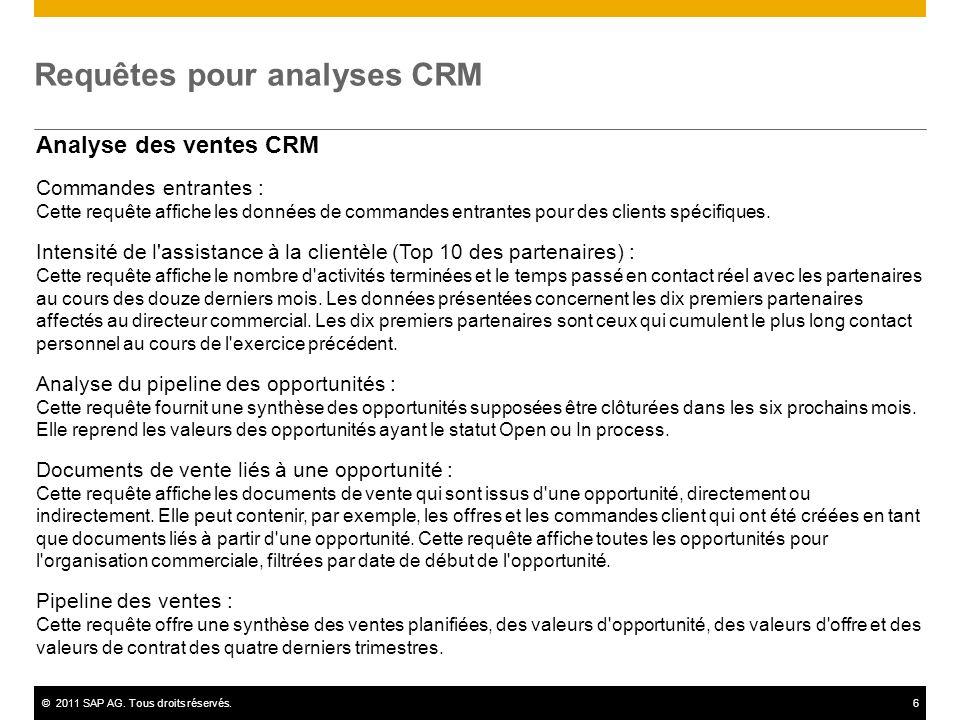 ©2011 SAP AG. Tous droits réservés.6 Requêtes pour analyses CRM Analyse des ventes CRM Commandes entrantes : Cette requête affiche les données de comm