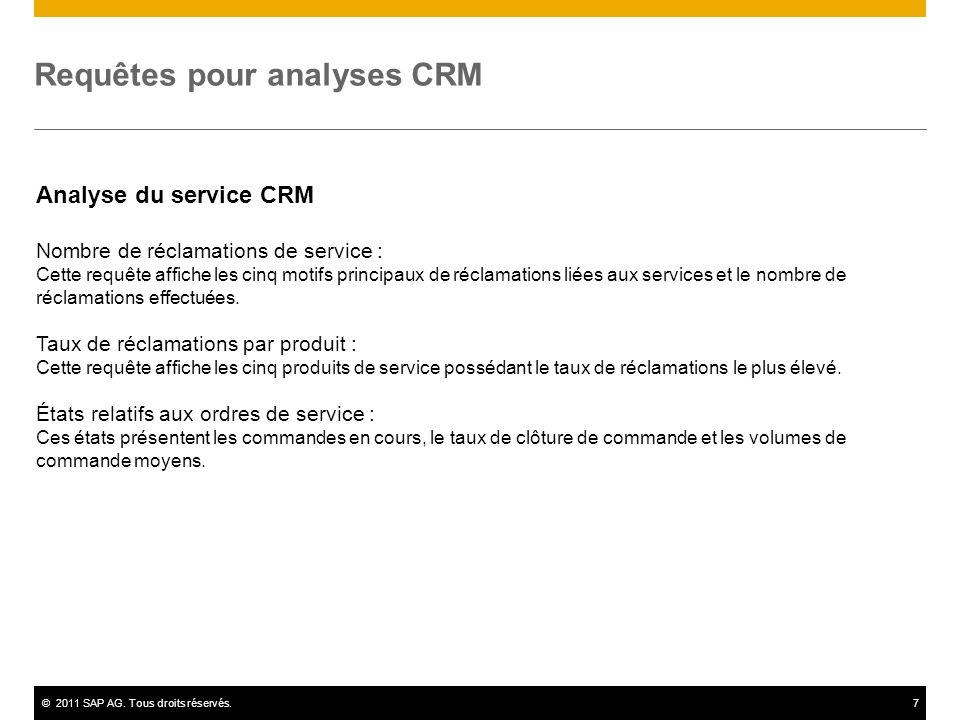 ©2011 SAP AG. Tous droits réservés.7 Requêtes pour analyses CRM Analyse du service CRM Nombre de réclamations de service : Cette requête affiche les c