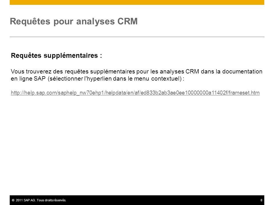 ©2011 SAP AG. Tous droits réservés.8 Requêtes pour analyses CRM Requêtes supplémentaires : Vous trouverez des requêtes supplémentaires pour les analys