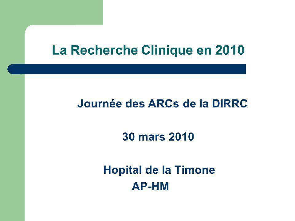 La Recherche Clinique en 2010 Journée des ARCs de la DIRRC 30 mars 2010 Hopital de la Timone AP-HM