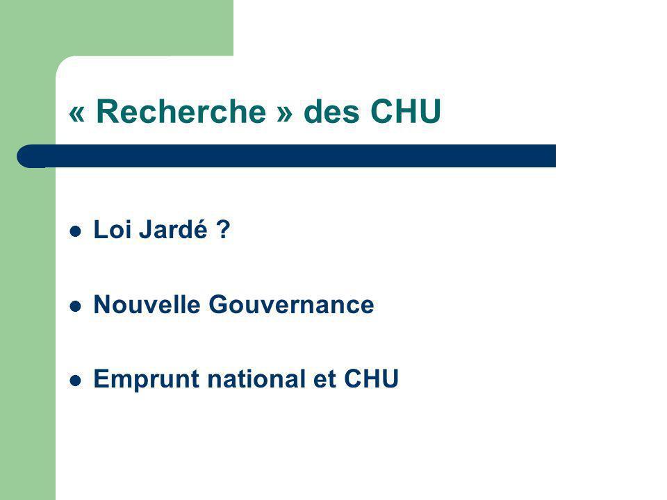 « Recherche » des CHU Loi Jardé ? Nouvelle Gouvernance Emprunt national et CHU