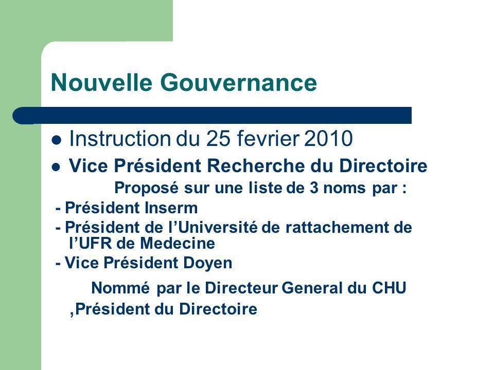 Nouvelle Gouvernance Instruction du 25 fevrier 2010 Vice Président Recherche du Directoire Proposé sur une liste de 3 noms par : - Président Inserm -