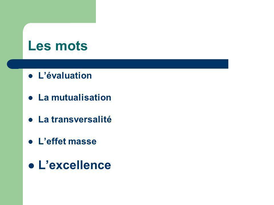 Les mots Lévaluation La mutualisation La transversalité Leffet masse Lexcellence