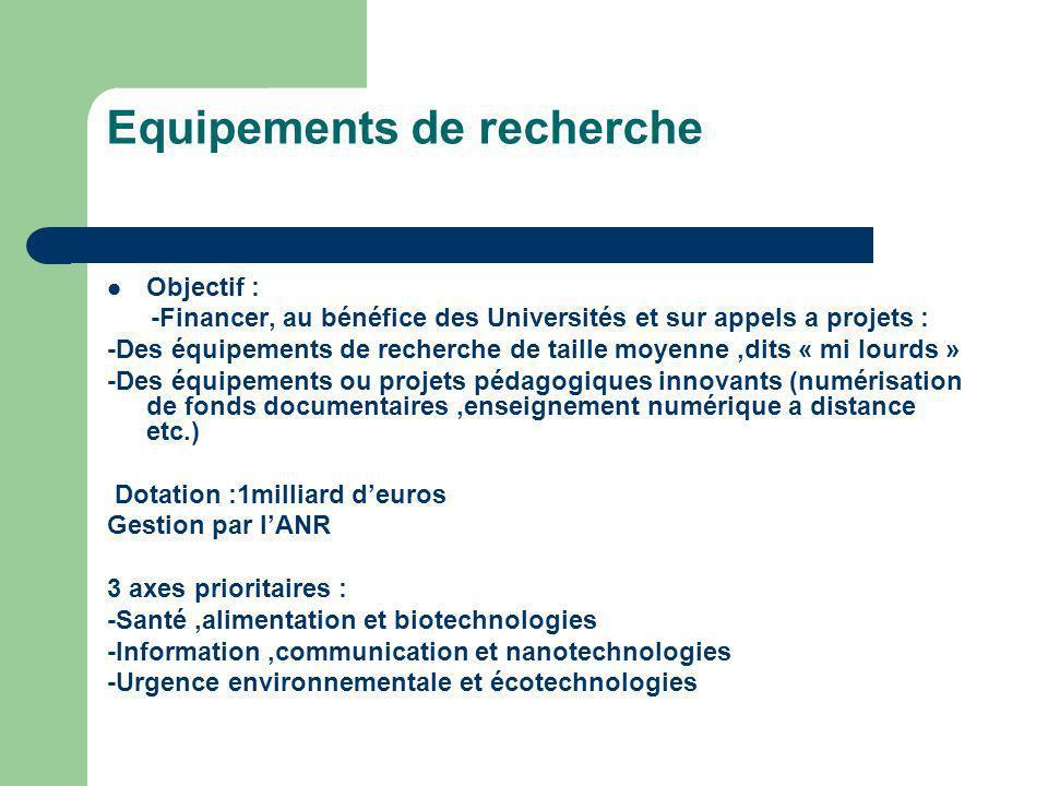 Equipements de recherche Objectif : -Financer, au bénéfice des Universités et sur appels a projets : -Des équipements de recherche de taille moyenne,d