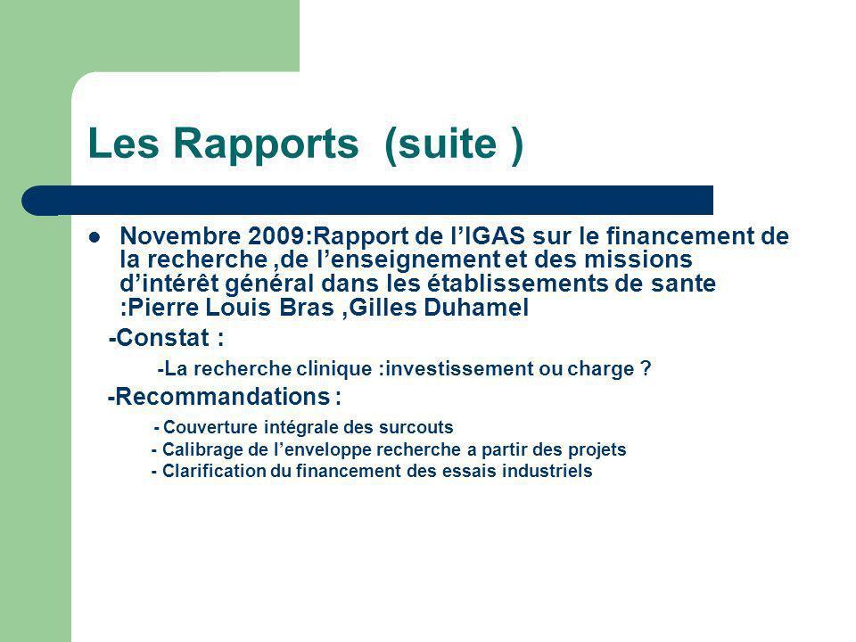 Les Rapports (suite ) Novembre 2009:Rapport de lIGAS sur le financement de la recherche,de lenseignement et des missions dintérêt général dans les établissements de sante :Pierre Louis Bras,Gilles Duhamel -Constat : -La recherche clinique :investissement ou charge .