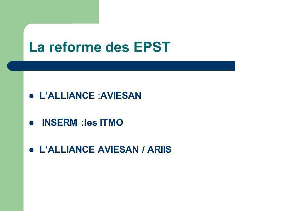 La reforme des EPST LALLIANCE :AVIESAN INSERM :les ITMO LALLIANCE AVIESAN / ARIIS