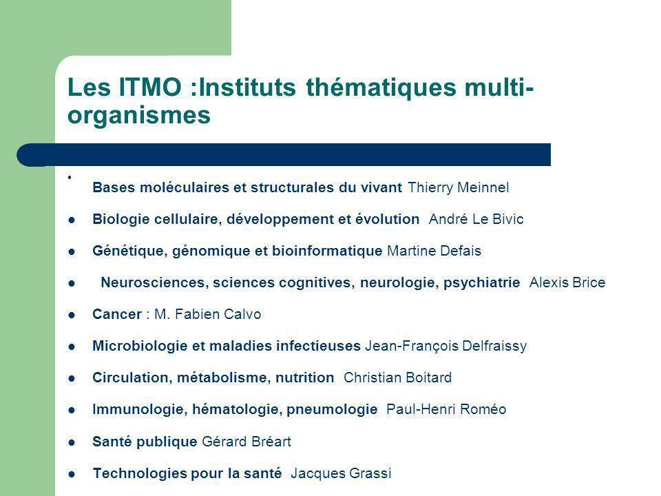 Les ITMO :Instituts thématiques multi- organismes Bases moléculaires et structurales du vivant Thierry Meinnel Biologie cellulaire, développement et é