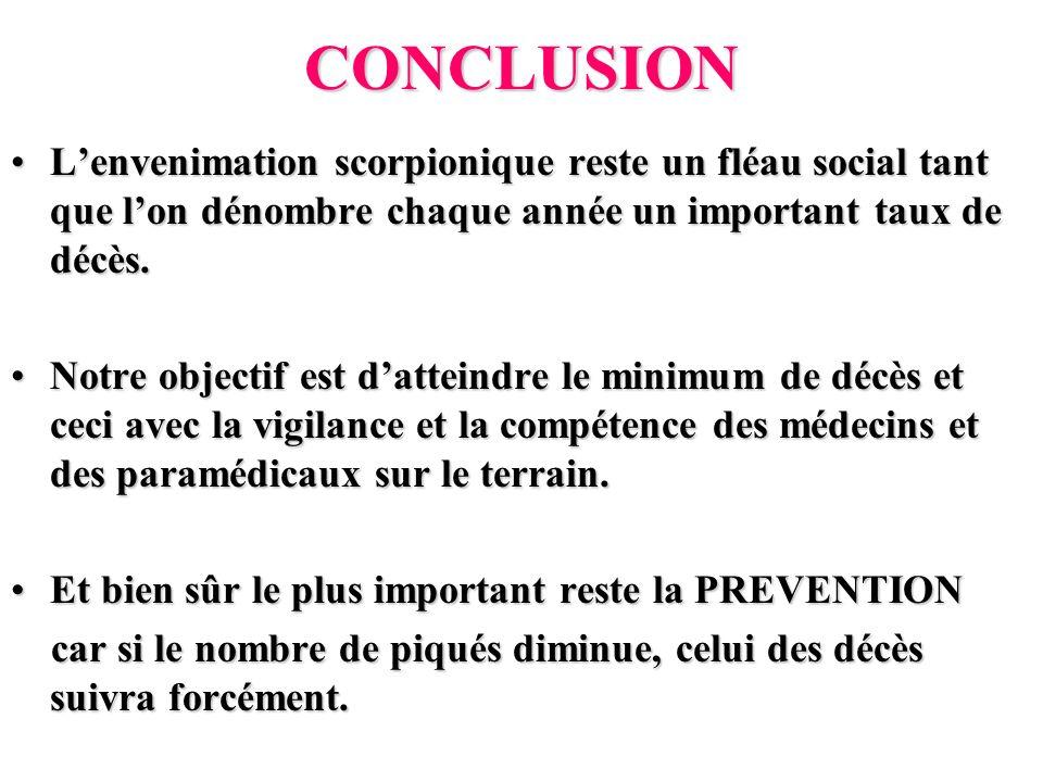 CONCLUSION Lenvenimation scorpionique reste un fléau social tant que lon dénombre chaque année un important taux de décès.Lenvenimation scorpionique r
